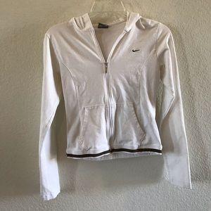 Nike white zip up hoodie jacket stretch S